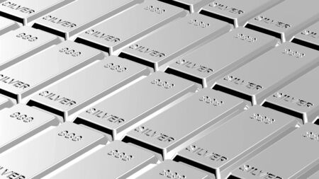 silver ingots: Silver ingots background. Computer generated 3D photo rendering.