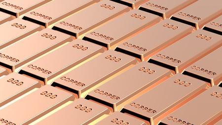 ingots: Copper ingots background. Computer generated 3D photo rendering.  Stock Photo