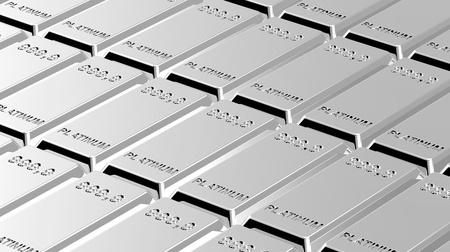 Platinum ingots background. Computer generated 3D photo rendering.  photo