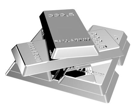 Palladium ingots isolated on white. Computer generated 3D photo rendering.