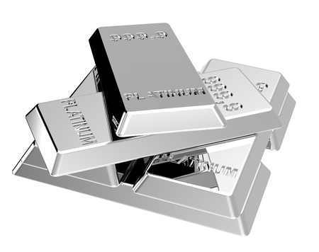 Platinum ingots isolated on white. Computer generated 3D photo rendering.