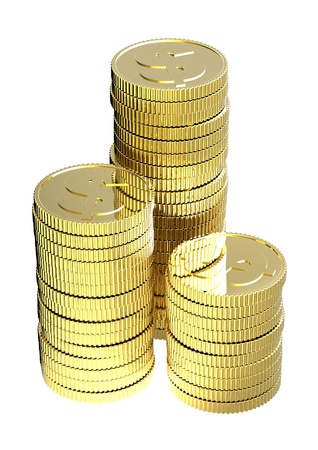 Stacks of gold coins isolated on a white background. Computer generated 3D photo rendering. photo