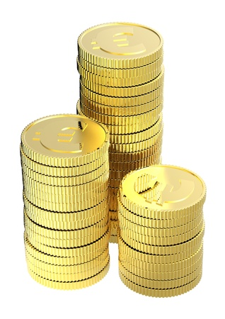 Stacks of gold euro coins isolated on a white background. Computer generated 3D photo rendering.
