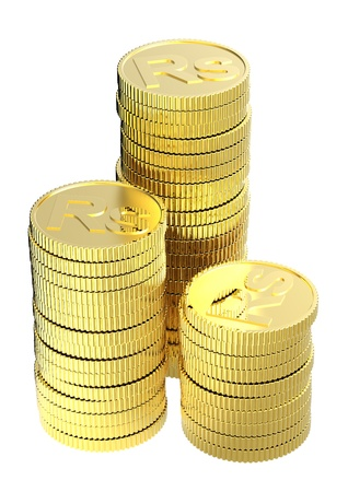 Stacks of gold rupee coins isolated on a white background. Stock Photo - 9198221