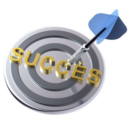 Blue dart on the target with success text on it.