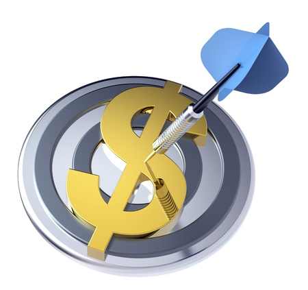 Blue dart on the target with dollar sign on it. Computer generated 3D photo rendering. Stock Photo - 9225029