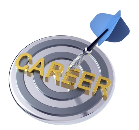 Blue dart on a target with gold text on it. Concept for job recruitment or career. Computer generated 3D photo rendering.