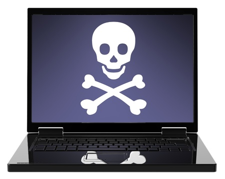 Skull and crossbones on the laptop screen. The danger of the Internet - hackers, viruses, addiction. Computer generated 3D photo rendering photo