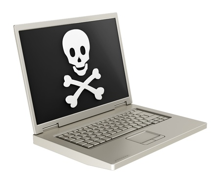 computer viruses: Skull and crossbones on the laptop screen. The danger of the Internet - hackers, viruses, addiction. Computer generated 3D photo rendering