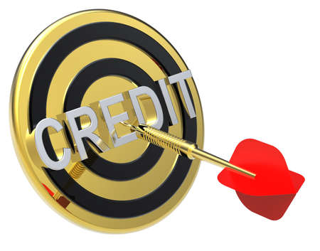 obtaining: Red dart on a gold target with text on it. The concept of obtaining credit. Computer generated 3D photo rendering. Stock Photo