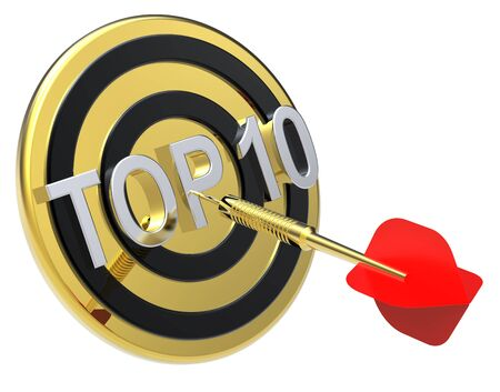 Red dart on a gold target with text on it. The concept of TOP 10 list. Computer generated 3D photo rendering. photo