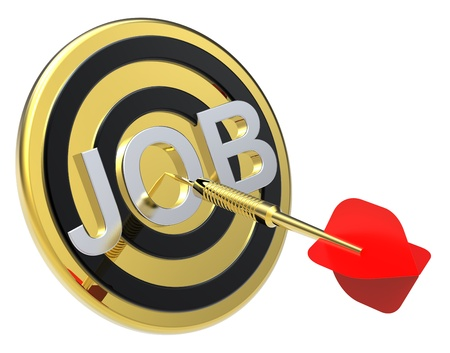 Red dart on a gold target with text on it. Concept for job recruitment or career. Computer generated 3D photo rendering. Stock Photo - 9279563