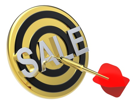 Red dart on a gold target with text on it. The concept of sales and occasion. Computer generated 3D photo rendering. photo