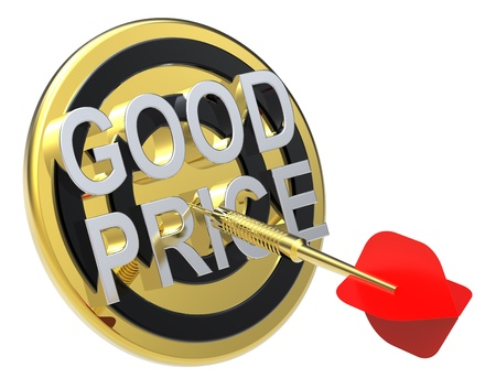price reduction: Red dart on a gold target with text on it. The concept of sales and occasion. Computer generated 3D photo rendering.