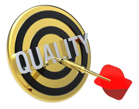 Red dart on a gold target with text on it. The concept of quality. Computer generated 3D photo rendering. photo