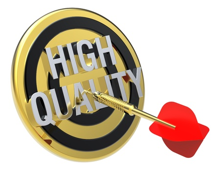 Red dart on a gold target with text on it. The concept of quality control. Computer generated 3D photo rendering. Stock Photo - 9279581