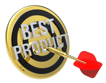 Red dart on a gold target with text on it. The concept of best product. Computer generated 3D photo rendering. Stock Photo - 9279577