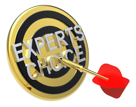 Red dart on a gold target with text on it. The concept of selecting a good product. Computer generated 3D photo rendering. Stock Photo - 9279585