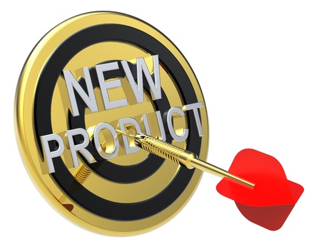 Red dart on a gold target with text on it. The concept of new product. Computer generated 3D photo rendering. Stock Photo - 9279582