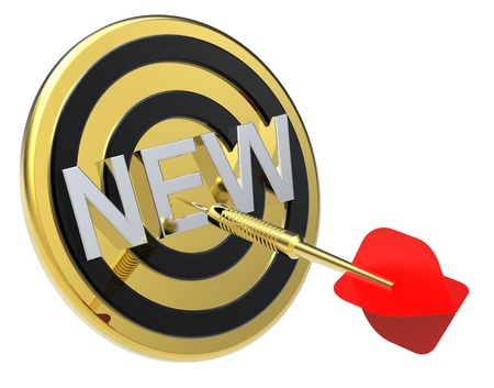 Red dart on a gold target with text on it. The concept of new product. Computer generated 3D photo rendering. Stock Photo - 9279574