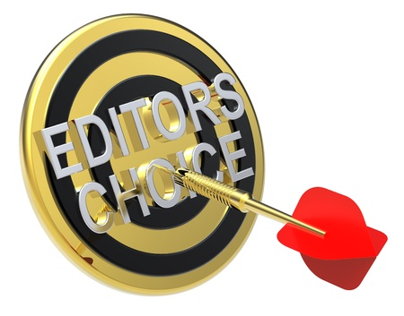 Red dart on a gold target with text on it. The concept of selecting a good product. Computer generated 3D photo rendering. Stock Photo - 9279584