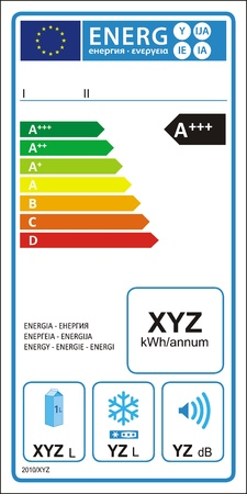 verimli: Refrigerator machine energy rating graph label in vector.