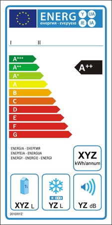 Refrigerator machine energy rating graph label in vector. Stock Vector - 9337396