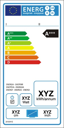 TV energy rating graph label in vector. Vector