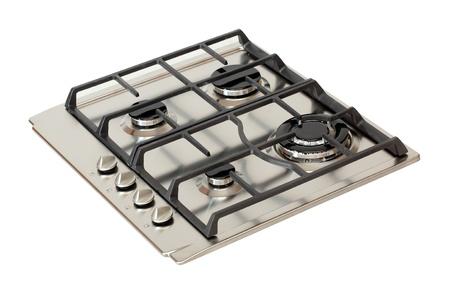 estufa: Quemadores de gas de acero inoxidable aislados en blanco