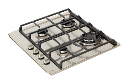 Stainless steel gas hob isolated on white Stock Photo - 9337403
