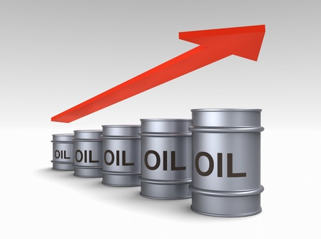 Increasing price of oil concept. Computer generated 3D photo rendering. photo