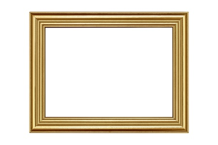 bordering: Gold frame isolated on white background