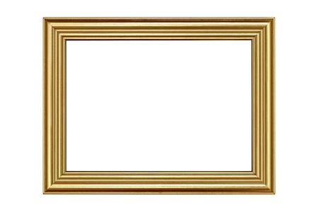 marcos decorados: Marco oro aislada sobre fondo blanco