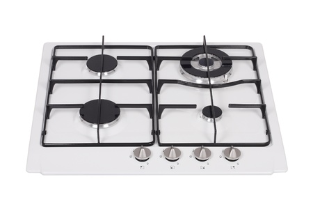 black appliances: Gas hob isolated on white