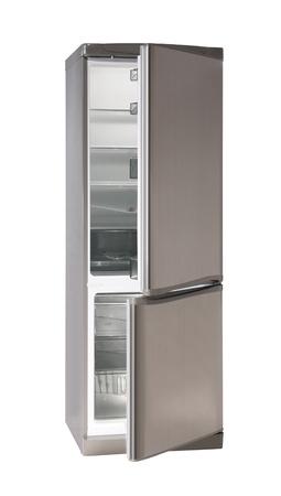 Two door INOX refrigerator isolated on white Stock Photo - 9590766