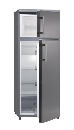 Two door INOX refrigerator isolated on white photo