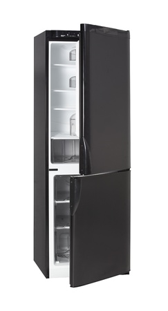 Two door shiny black refrigerator isolated on white photo