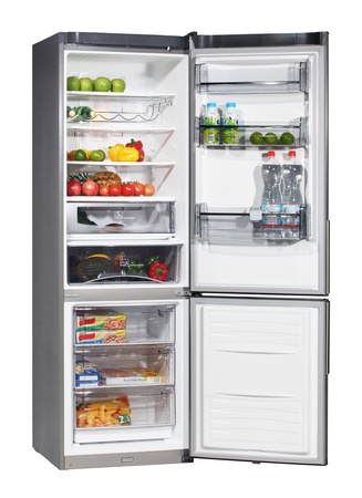 Two door INOX refrigerator isolated on white Stock Photo - 9618777