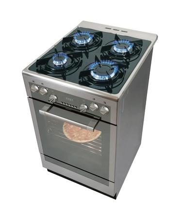gas cooker: Isolarted de cocina moderna en blanco