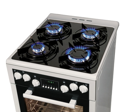gas stove: Modern stove isolarted on white