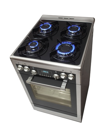 gas cooker: Modern stove isolarted on white