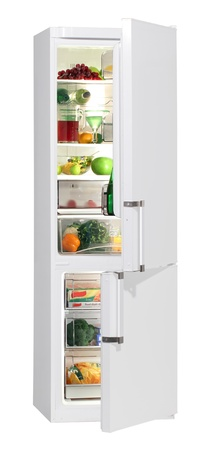 frig: Two door white refrigerator isolated on white Stock Photo