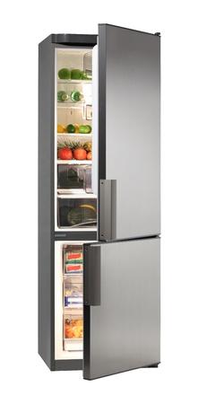 Zwei Tür INOX-Kühlschrank, isoliert auf weiss Lizenzfreie Bilder