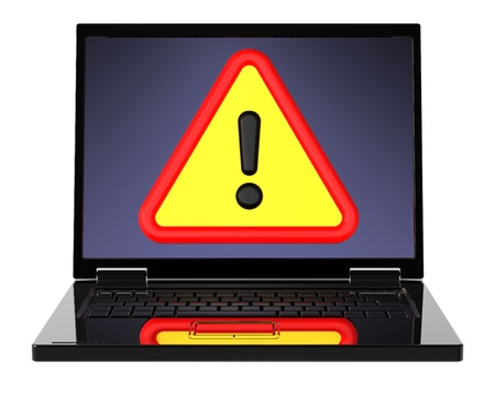 fail: Attentions sign on laptop screen. Computer generated 3D photo rendering. Stock Photo