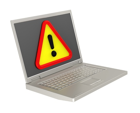 attentions: Attentions sign on laptop screen. Computer generated 3D photo rendering. Stock Photo