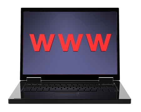 Laptop and WWW word on the screen isolated over white background. Computer generated 3D photo rendering. Stock Photo - 9700487