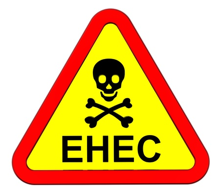 EHEC - warning sign. Computer generated 3D photo rendering. Stock Photo