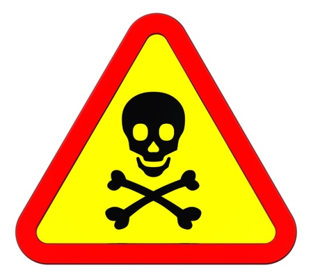 radiotherapy: Warning sign with skull symbol isolated on white. Computer generated 3D photo rendering.