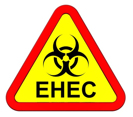 ehec virus: EHEC - warning sign. Computer generated 3D photo rendering. Stock Photo