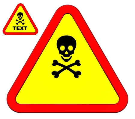 mortal: Danger warning sign isolated on white. You can put your own text inside. Stock Photo
